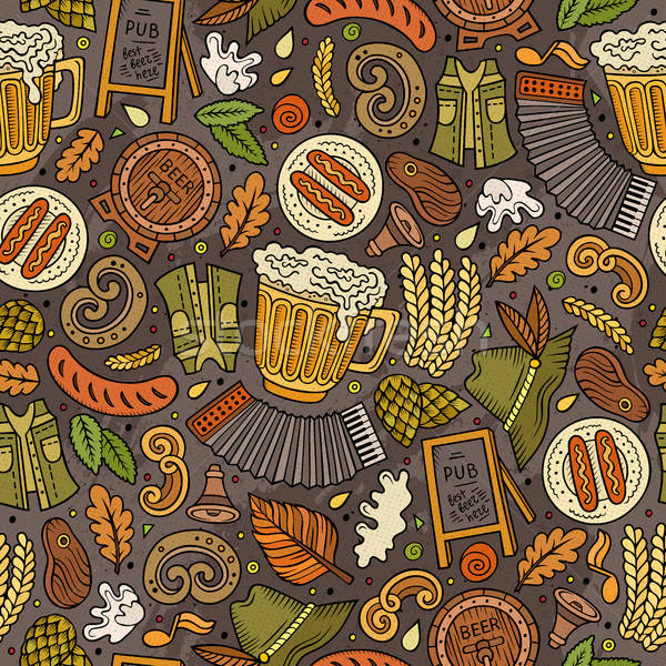 Cartoon cute hand drawn Beer fest seamless pattern Stock photo © balabolka