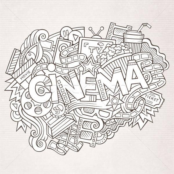 Cartoon cute doodles hand drawn Cinema inscription Stock photo © balabolka