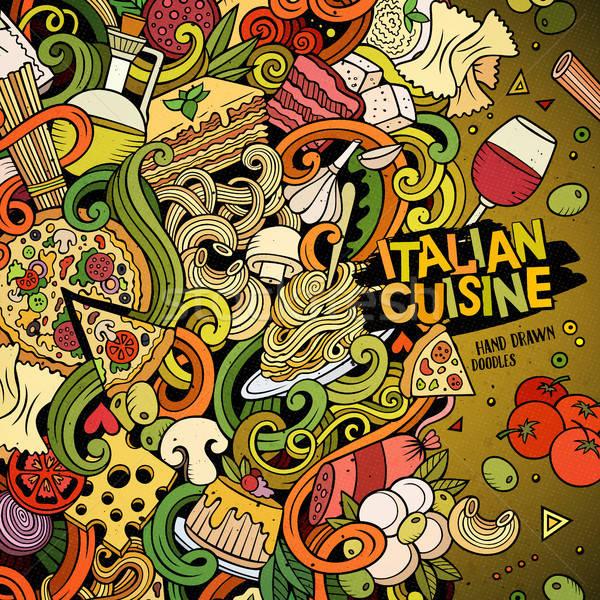 Cartoon hand-drawn doodles Italian food illustration Stock photo © balabolka