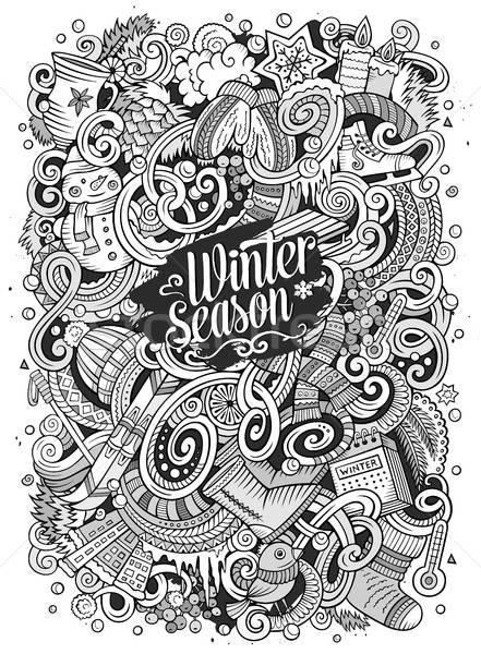 Cartoon saison d'hiver illustration cute dessinés à la main Photo stock © balabolka