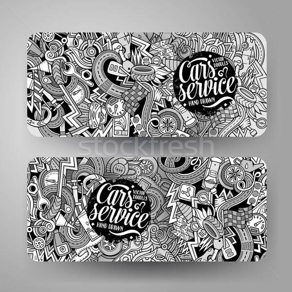 Cartoon vector hand drawn doodles Aautomobile horizontal banners Stock photo © balabolka