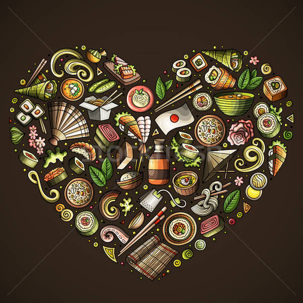 Conjunto Japão comida desenho animado rabisco objetos Foto stock © balabolka