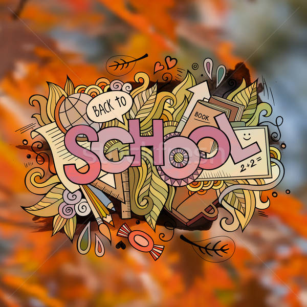 School autumn Vector hand lettering and doodles elements Stock photo © balabolka