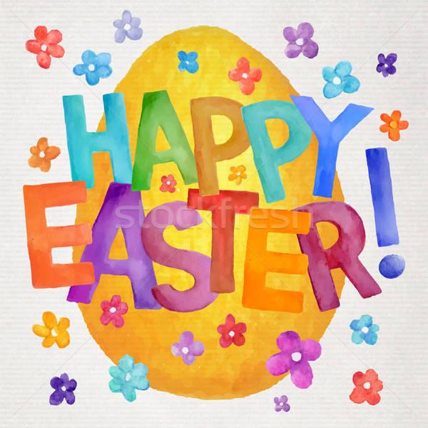 Kellemes húsvétot vektor vízfesték illusztráció művészi kéz Stock fotó © balabolka