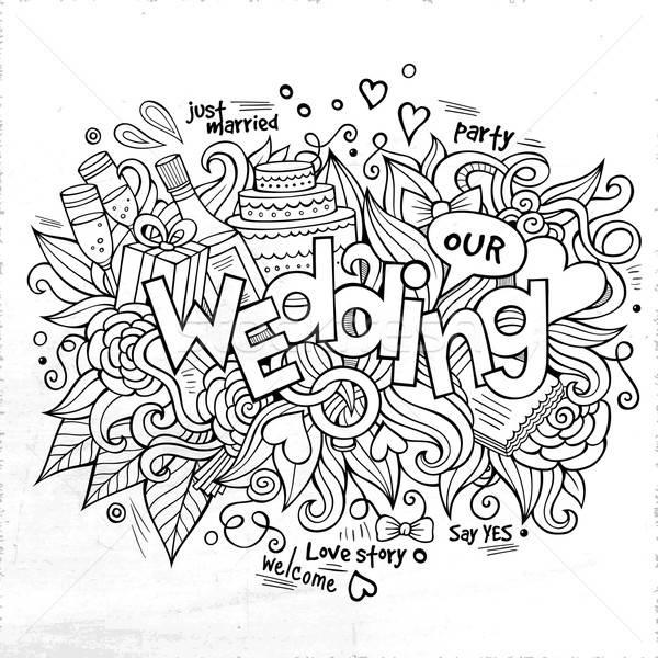 Foto d'archivio: Wedding · mano · scarabocchi · elementi · sketch · party