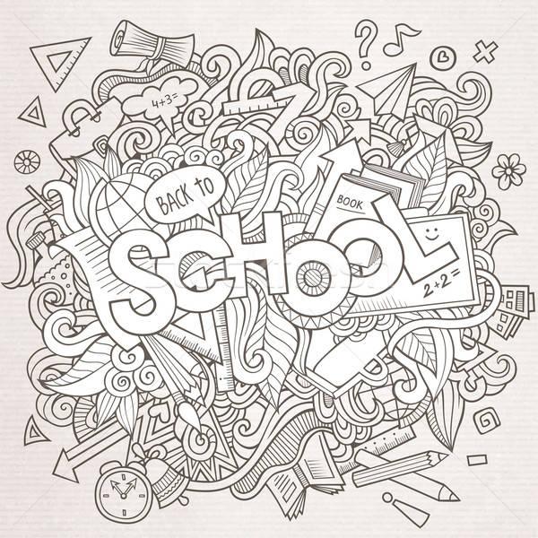 Cartoon sketchy hand-drawn Doodle on the subject of education Stock photo © balabolka