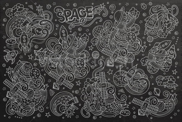Chalkboard vector hand drawn doodles cartoon set of Space objects Stock photo © balabolka