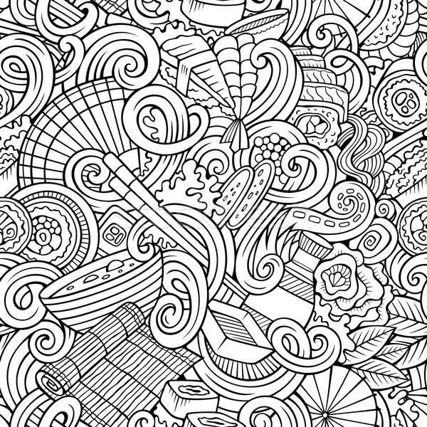 Cartoon hand-drawn doodles of japanese cuisine seamless pattern Stock photo © balabolka
