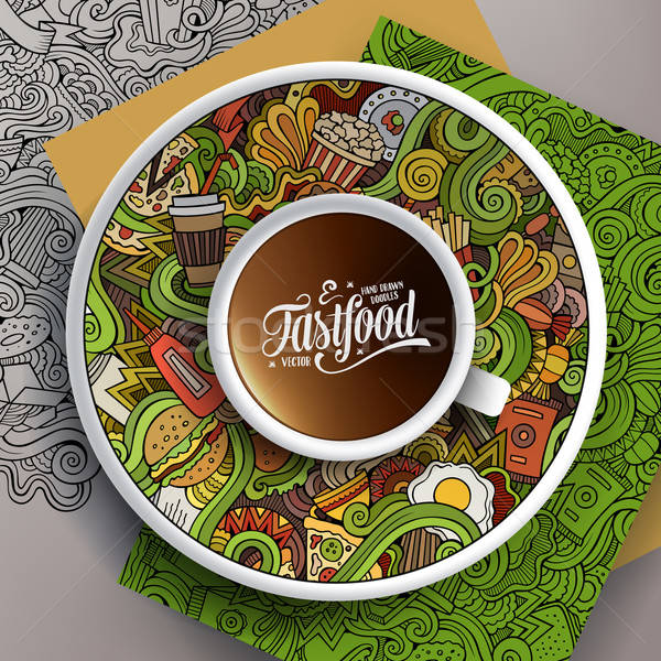 Cup of coffee and hand drawn fastfood doodles Stock photo © balabolka