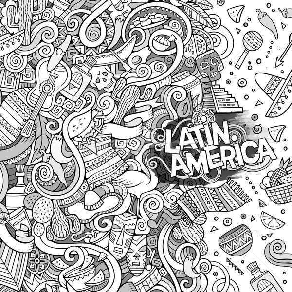 Karikatür karalamalar amerikan çerçeve sevimli Stok fotoğraf © balabolka