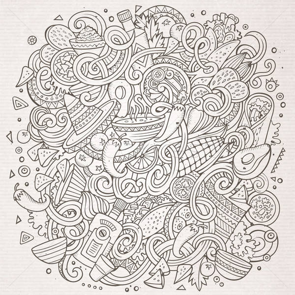 Cartoon cute doodles Mexican food illustration Stock photo © balabolka