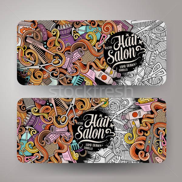 Karikatür sevimli vektör karalamalar kuaför afişler Stok fotoğraf © balabolka