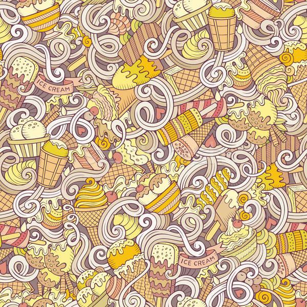 Cartoon hand-drawn ice cream doodles seamless pattern Stock photo © balabolka