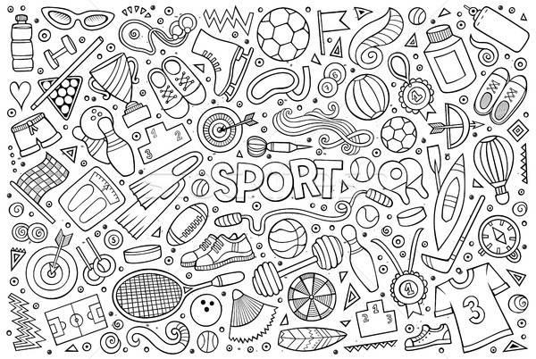 Doodle cartoon set sport oggetti simboli Foto d'archivio © balabolka