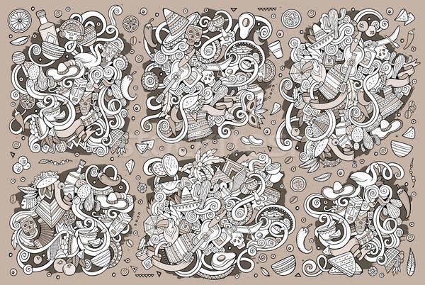 Vázlatos vektor kézzel rajzolt firka amerikai tárgyak Stock fotó © balabolka