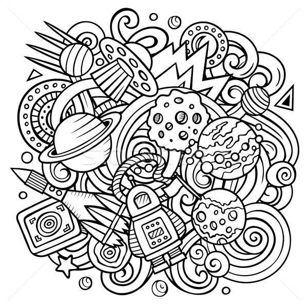 Desenho animado vetor espaço ilustração linha Foto stock © balabolka