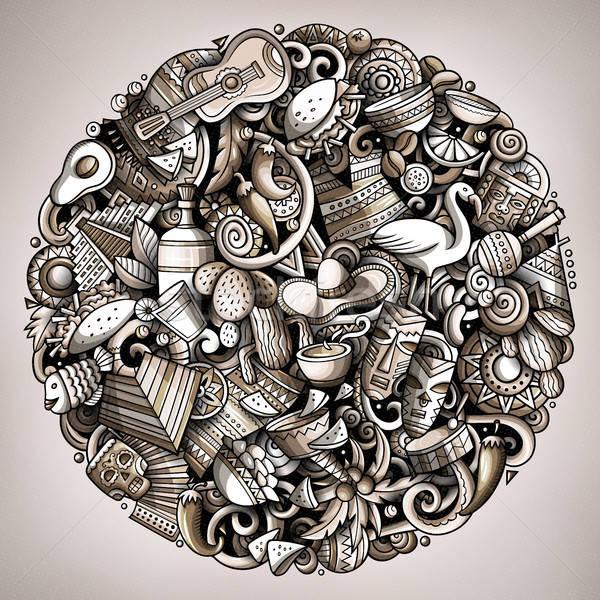 Karikatür vektör karalamalar latin amerika örnek tek renkli Stok fotoğraf © balabolka