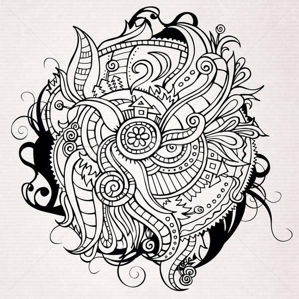Abstract doodles vector decorative landscape Stock photo © balabolka