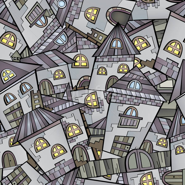 Stock photo: Cartoon houses seamless pattern