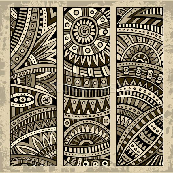 抽象 民族 模式 卡 集 向量 商業照片 © balabolka