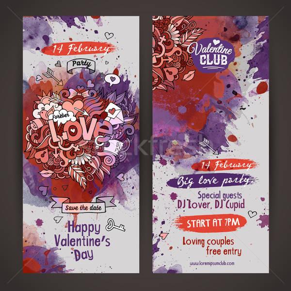 Vector love doodles watercolor paint party flyer Stock photo © balabolka