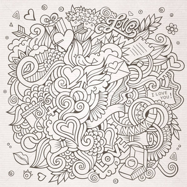 Stock photo: Cartoon vector hand-drawn Love Doodles. Sketchy design background