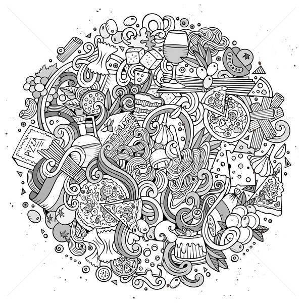 Stock photo: Cartoon cute doodles hand drawn italian food illustration