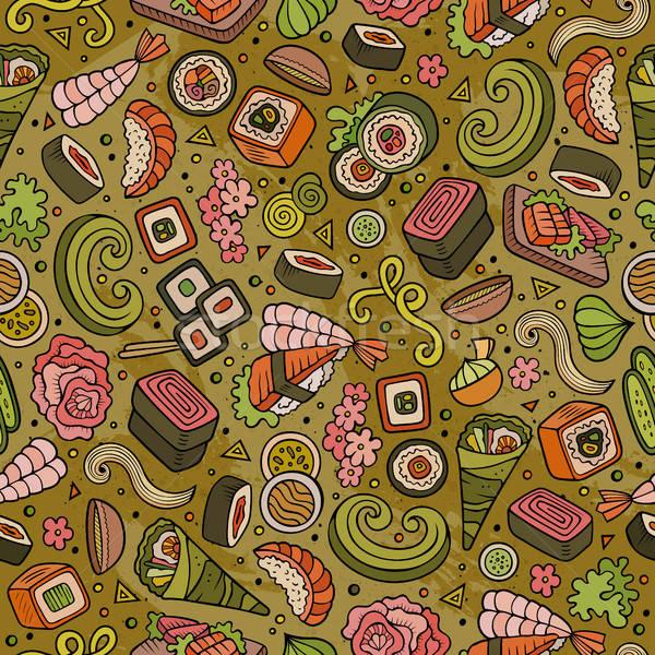 Stock photo: Cartoon cute hand drawn Japan food seamless pattern