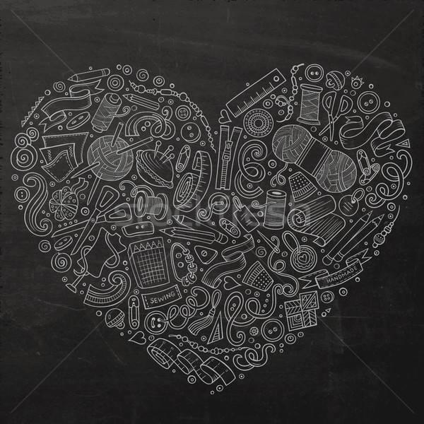 Colorido vetor conjunto feito à mão desenho animado rabisco Foto stock © balabolka