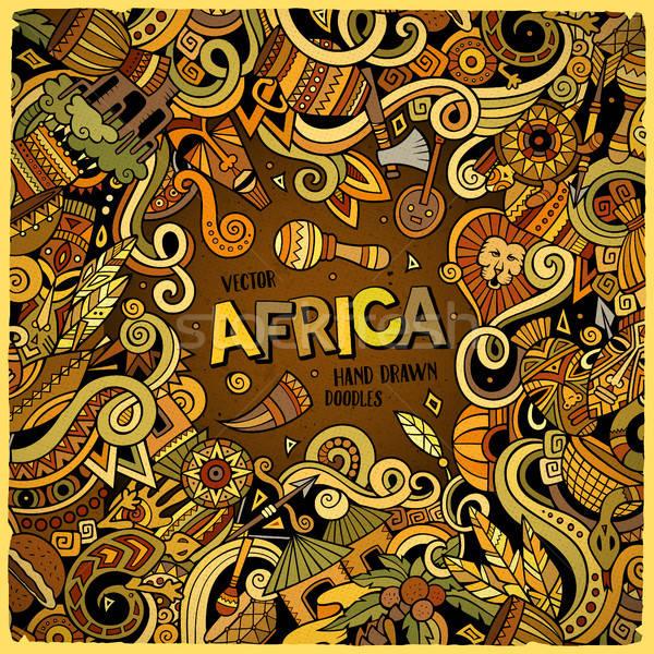 Cartoon cute scarabocchi africa frame Foto d'archivio © balabolka