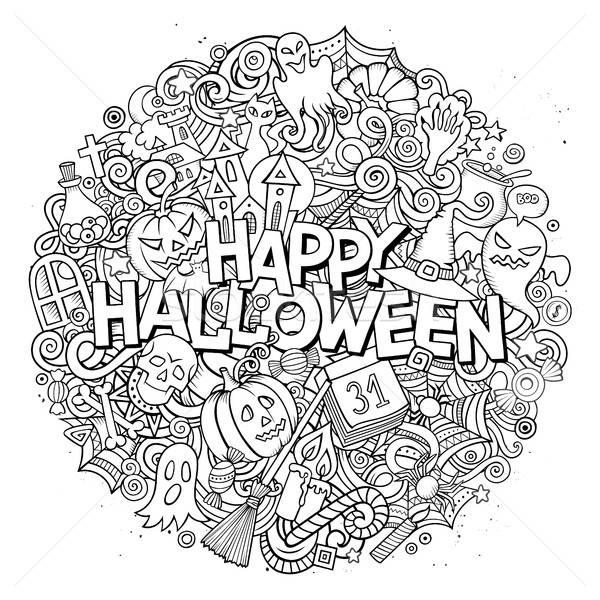 Karikatur cute Kritzeleien Halloween Inschrift Hand gezeichnet Stock foto © balabolka