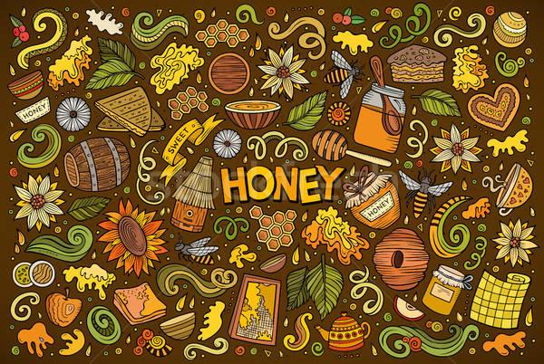 Vector cartoon set of Honey theme objects Stock photo © balabolka