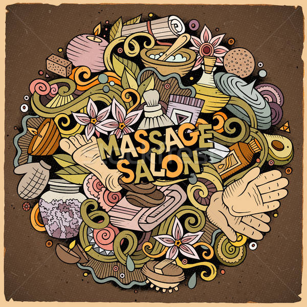 Foto d'archivio: Cartoon · cute · scarabocchi · massaggio · illustrazione
