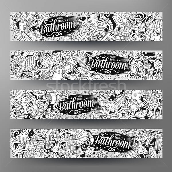 Cartoon vector doodles Bathroom horizontal banners Stock photo © balabolka