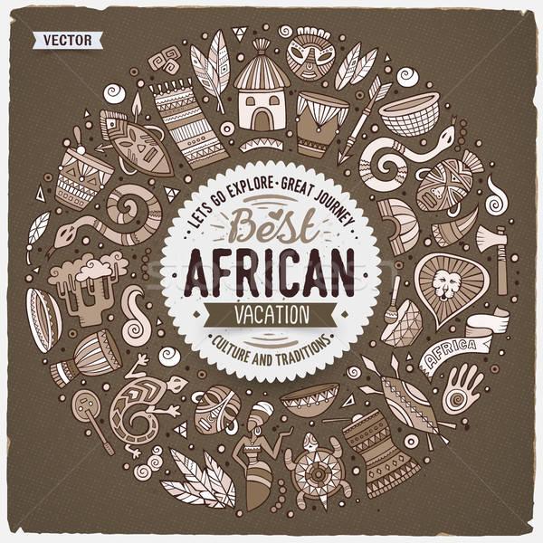 набор Африка Cartoon болван объекты кадр Сток-фото © balabolka