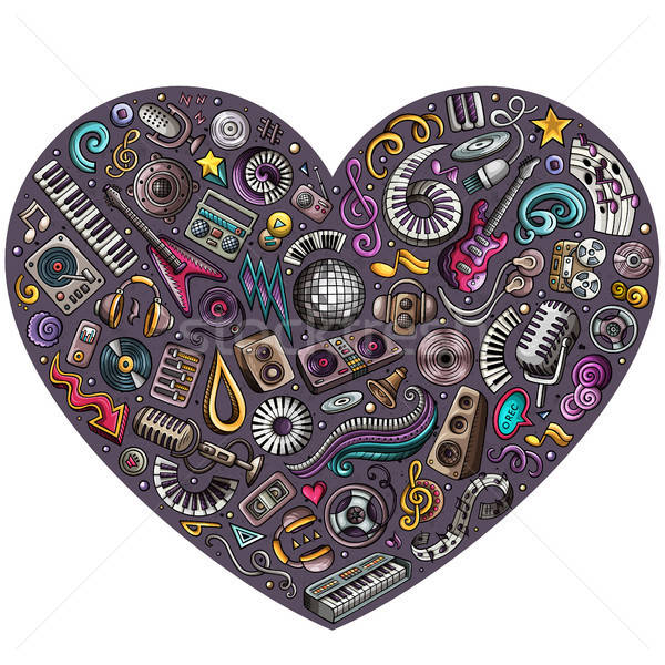 Set of vector cartoon doodle musical objects collected in a heart Stock photo © balabolka