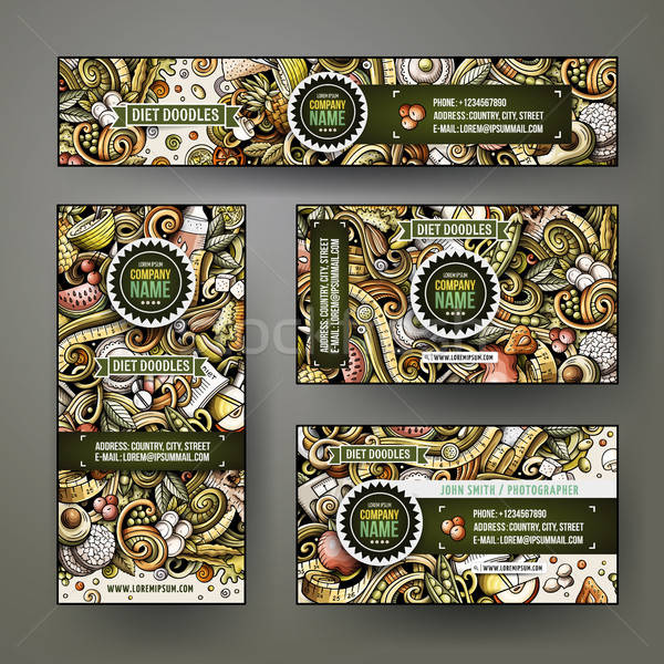 Corporate Identity vector templates set design with doodles hand drawn Diet food theme Stock photo © balabolka