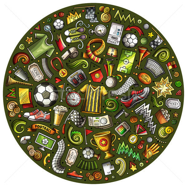 Set of vector cartoon doodle Football objects collected in a circle Stock photo © balabolka