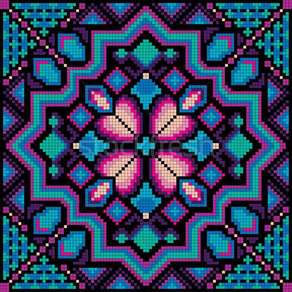 Mosaico etnica cerchio decorativo floreale Foto d'archivio © balabolka