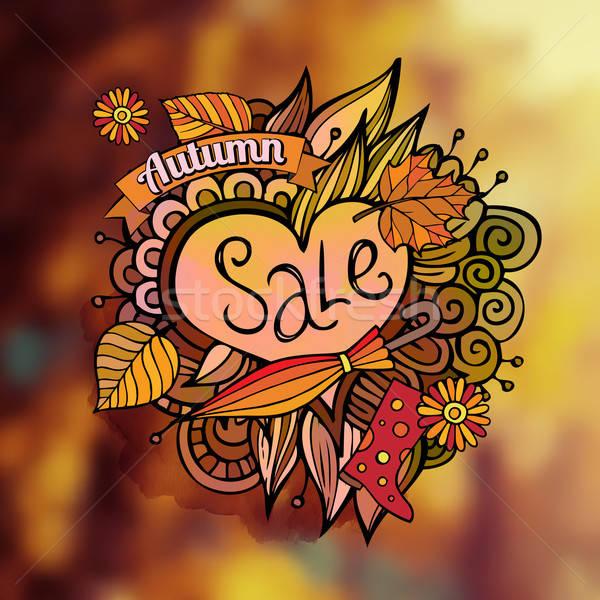 Stok fotoğraf: Vektör · dekoratif · sonbahar · satış · bulanık · karikatür