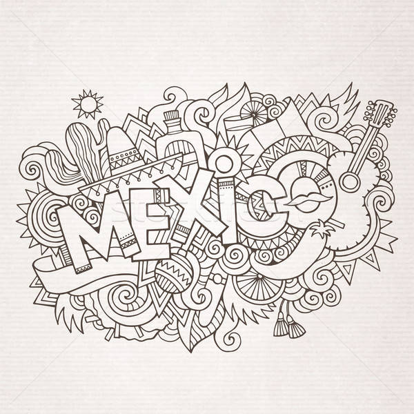 México país mano garabatos elementos símbolos Foto stock © balabolka