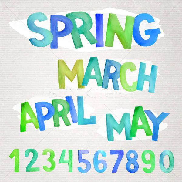 Spring season  watercolor names Stock photo © balabolka