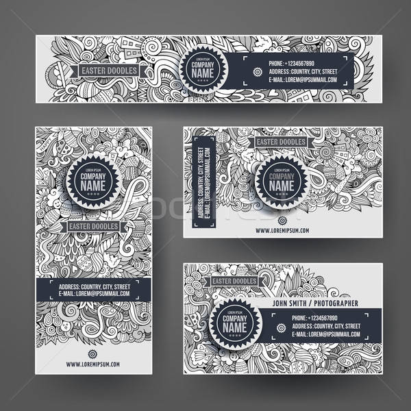 Stock photo: Corporate Identity vector templates set with doodles easter theme