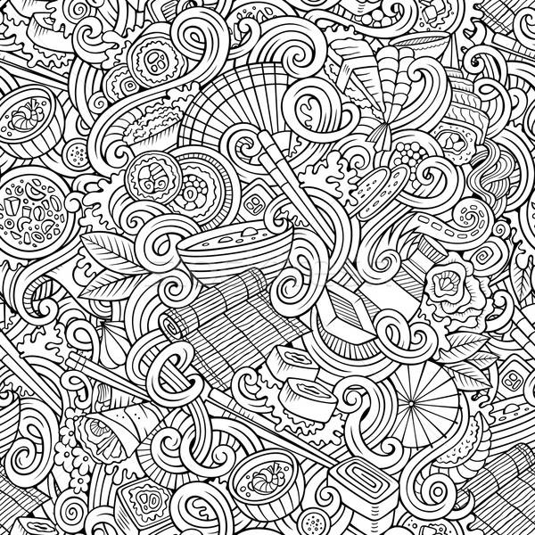 Cartoon hand-drawn doodles of japanese cuisine seamless pattern Stock photo © balabolka