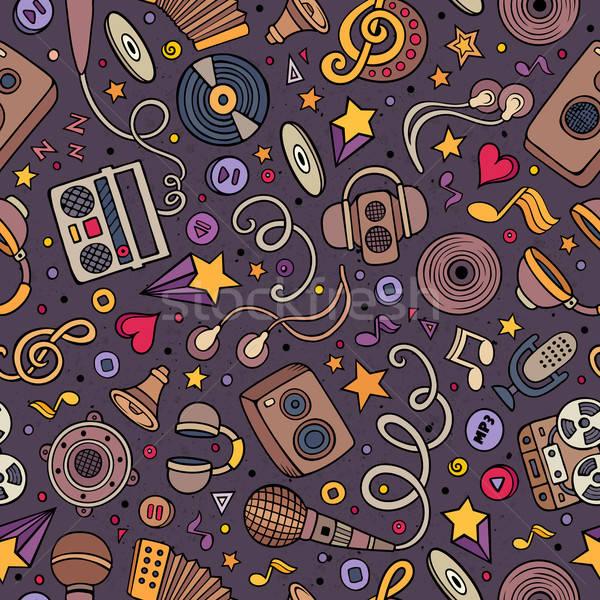 Cartoon hand-drawn musical instruments seamless pattern Stock photo © balabolka