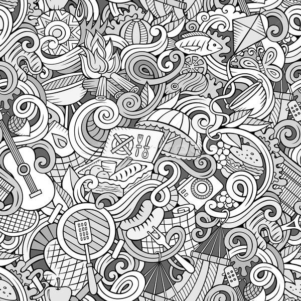 Cartoon hand-drawn picnic doodles seamless pattern Stock photo © balabolka