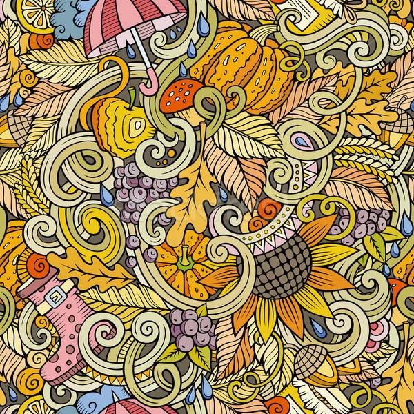 Stock fotó: Rajz · aranyos · firkák · ősz · végtelen · minta · kézzel · rajzolt