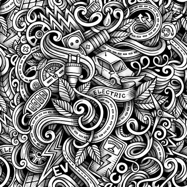 Cartoon doodles Electric cars season trace seamless pattern Stock photo © balabolka