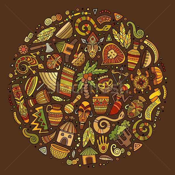 Colorato set africa cartoon doodle oggetti Foto d'archivio © balabolka