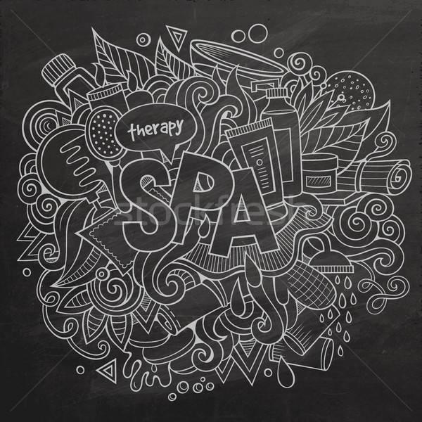 Spa hand lettering and doodles elements illustration Stock photo © balabolka